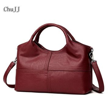 Chu JJ High Quality Women's Genuine Leather Handbags Patchwork Shoulder CrossBody Bags Fashion Soft Leather Women Bags