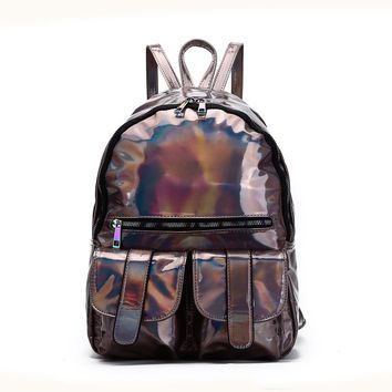 Pewter Hologram Dual Pocket Backpack with Rainbow Zipper Back To School