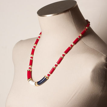 Vintage Red White and Blue Bead Necklace