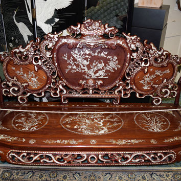 Handmade Bench, Pearl Chip Decorated, Very Extraordinary Vintage Antique Beauty