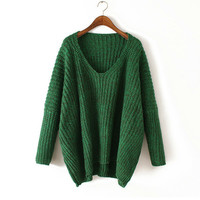 Sweater Winter Pullover V-neck Batwing Sleeve Tops Women's Fashion Needles [9017746372]