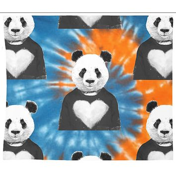 Panda Bear Flag Black and White Tie Dye Mandala Boho Wall Tapestry Hippy Yoga Meditation Mandala Wall Hanging