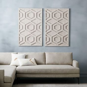 Whitewashed Wood Wall Art - Hexagon