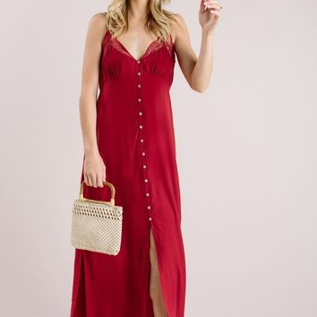 Helena Red Slip Maxi Dress