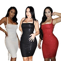2020 new women's sexy strappy sequin dress