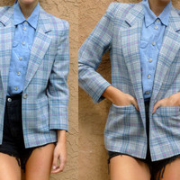 VTG 70s Pendelton Jacket/ WOOL Light Blue Plaid BOYFRIEND Fitted Blazer/ Equestrian size xs-small/ 4