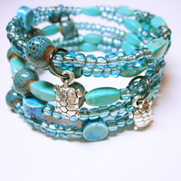 Blue Boho Bracelet, Blue Memory Wire Wrap, Beaded Wrapped Cuff, Blue Layered Bracelet, Summer Wear Wrapped Bracelet