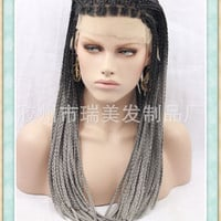 Elegant  fashion newest hot sale long hand made Afro ash grey and black ombre color braids hair wig lace front wig heap price