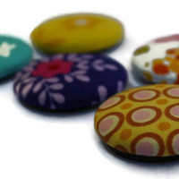 Bright fabric magnets - set of five - rabbits - flowers - spots