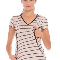 Olian Ramona Maternity Nursing Striped Hooded Top