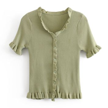 Fashion New Solid Color Short Sleeve Top Women Green