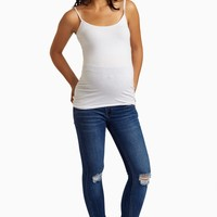 Blue-Distressed-Stretch-Maternity-Skinny-Jeans
