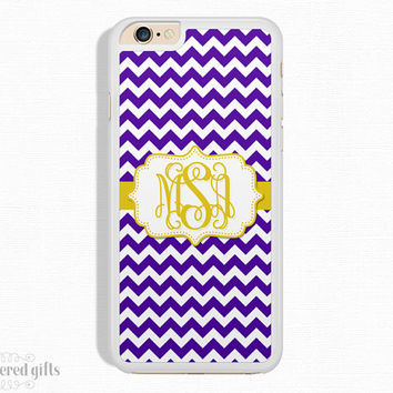 iPhone 5c Case, iPhone 6s Case, iPhone 6 Plus Case, iPhone 5s Case, Purple Chevron and Gold, Monogram Gift, Christmas Gift (073)