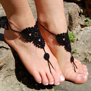 Black Crochet Barefoot Sandals, Bridal Shoes, Beach Wedding Shoes, Wedding Accessories, Nude Shoes, Yoga socks, Foot Jewelry