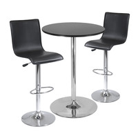 "Spectrum,  3pc Pub Table Set, 28"" Round Table with 2 L-Shape Airlift Stools"