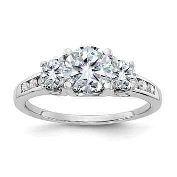 14k White Gold 1.50ct. 3 Stone With Side Colorless Moissanite Engagement Ring