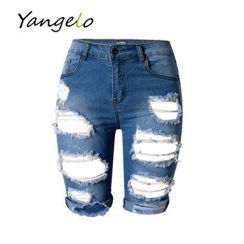 Fashion Street Hole Stretch Shorts Slim Torn Femme Denim Shorts 2016 Europe Style Half Ripped Jeans New High Waist Personality