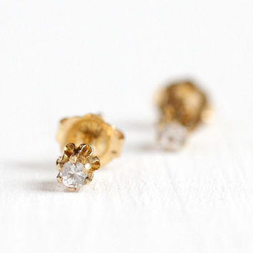 White Sapphire Earrings - Vintage 10k Yellow Gold .035 CTW Fine Studs Retro Mid Century - Pierced Classic Stud Post Genuine Gemstone Jewelry