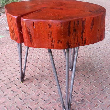 Orange Wooden Table, Orange Stool, Orange Plant Stand, Log Furniture, Log Round, Modern Table, Modern Stool, Colorful, Reclaimed Wood, Cool