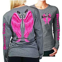 Country Life Outfitters Hunter Chick Wings Guns Vintage Gray & Pink Long Sleeve Bright T Shirt