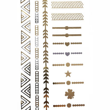 Rings & Things Metallic Temporary Flash Tattoo Gold Silver Festival Beach Holiday Gift Present Gift Present Flash Tattoo