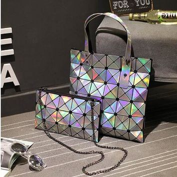 Maelove Women-bag Geometric Plaid Bag Casual Tote Chain Shoulder baobao bag female Composite style hologram laser silver bag