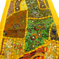 Yellow Expensive Heavy Beaded Indian Vintage Patchwork Tapestry Runner