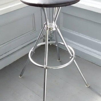 Vintage, Stool, Bar Stool, Kitchen Stool, Shop Stool, Cosco, Round, Metal, Upholstered, Black, Vinyl, Mid Century, RhymeswithDaughter