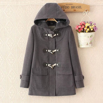 Duffle Coat Long Turn Down Horn Button Hooded Collar Woolen Overcoat Wide Waisted manteau femme Out Wear winter coats