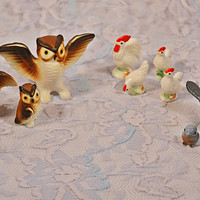 FREE SHIPPING Collection Of Miniature Bird Figurines, Vintage Miniatures, Owl, Bluebird, Turkey, Pelican