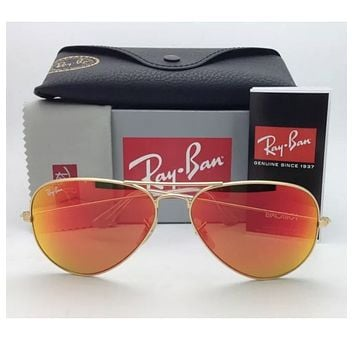 Cheap Ray Ban Aviator 3025 112/69 Sunglasses GOLD frame RED ORANGE FIRE MIRROR Lens outlet