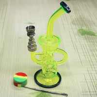 Fluorescent Green glass bong with (6 IN 1) Domeless Titanium nail Faberge Water pipe Glass Bongs Water Pipes Recycler Filter Percolators