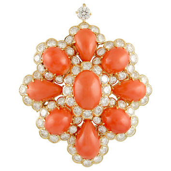 Van Cleef & Arpels Coral Diamond Brooch