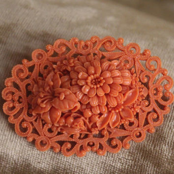 1930s Coral Carved Celluloid Brooch