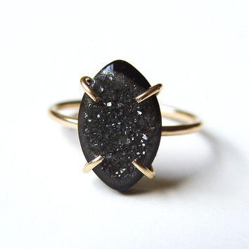 Black Druzy Gold Ring OOAK