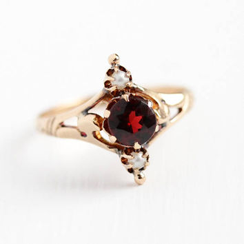 Victorian Gem Ring - Antique 10k Rose Gold Genuine Garnet & Seed Pearl Navette - Size 6 1/4 Vintage White and Dark Red Gemstone Fine Jewelry