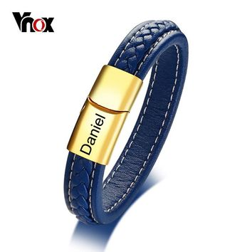 Vnox Free Personalized Name Braided Genuine Leather ID Bracelet For Men Bangle Stainless Steel Male Casual Gentleman Jewelry