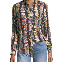 Equipment Essential Botanical Garland Button-Front Floral-Print Shirt