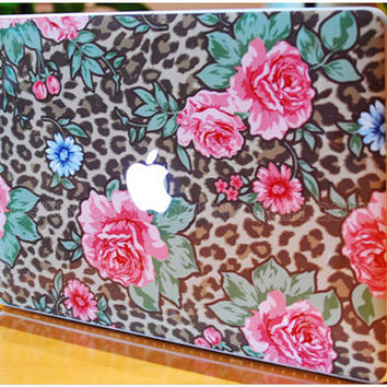 Leopard Flower- decal macbook laptop keyboard decal macbook decal macbook air sticker macbook pro decal