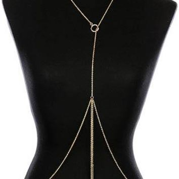 Body Chain Double Metal Rod Center Ring