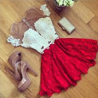 Elegant gauze splicing short-sleeved dress