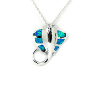 Sterling Silver Blue Opal Manta Sting Ray Pendant Necklace