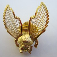 Monet Golden Bumble Bee Filigree Brooch Marked