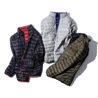 Ultra Thin Pack-able down jacket men brand-clothing simple casual duck down coat male reversible wear