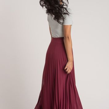 Simone Burgundy Pleated Maxi Skirt