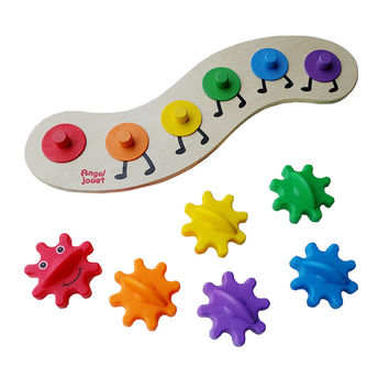 35cm Baby Colorful Wooden Educational Gear Caterpillar Twisting Worm Puzzle Fun Toys for Children DIY Color Shape Learning Gifts
