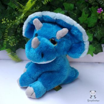 Baby Blue Triceratops Dinosaur Stuffed Animal Plush Toy 7""