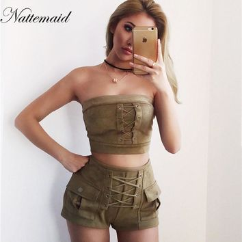 leather 2 pieces sets Ladies tie up suits high waist short pants strapless tank tops Casual tracksuits