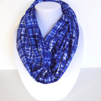 Blue Infinity Scarf, Checkered Scarf, Valentine's Day, Women Fashion, Gift For Her, Printed Scarf, Geometric Infinity Scarf