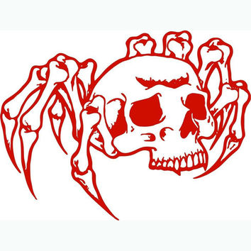 Rushed Spider Skull Zombie Monster Car Styling Stickers Polyethylene Terephthalate Reflective Decals For Motorcycle Man